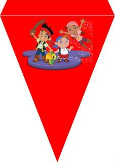 Banderines para Cumpleaños de Jake y los Piratas para imprimir gratis.