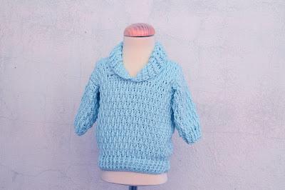 7 - Majovel Crochet Imagen Jersey azul con punto elastico a crochet y ganchillo