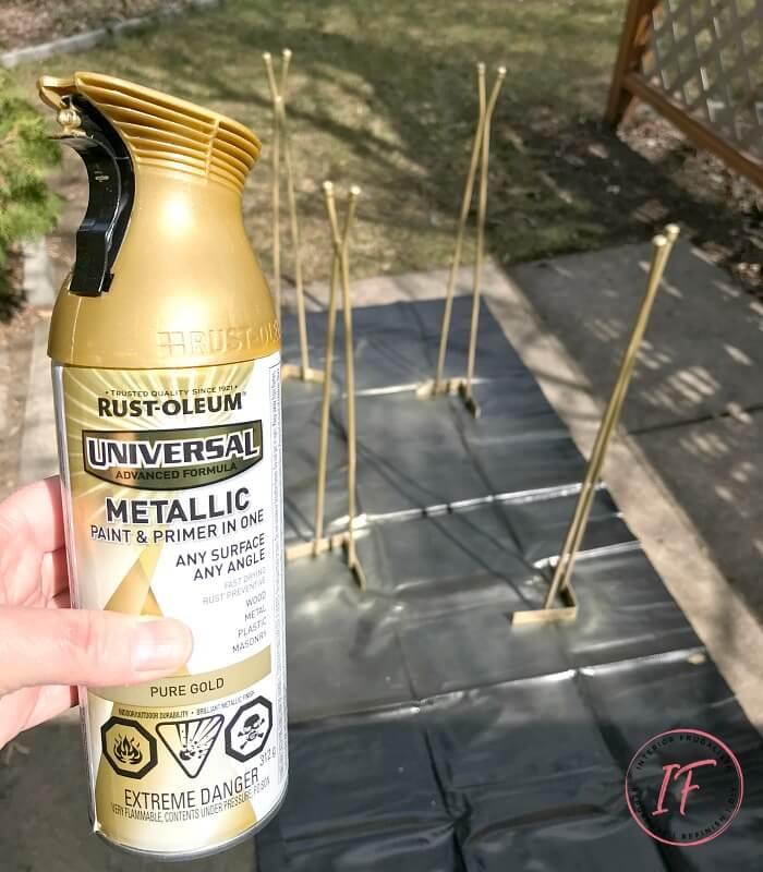 Arborite Retro Dining Table Metal Legs Spray Painted Pure Gold