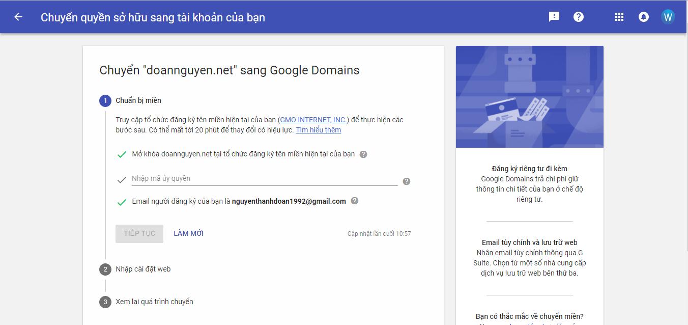 Chuyển Tên miền từ nơi khác về Google Domains