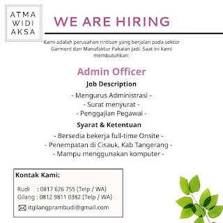 Info Lowongan Kerja Admin Officer Atmawidiaksa Tangerang