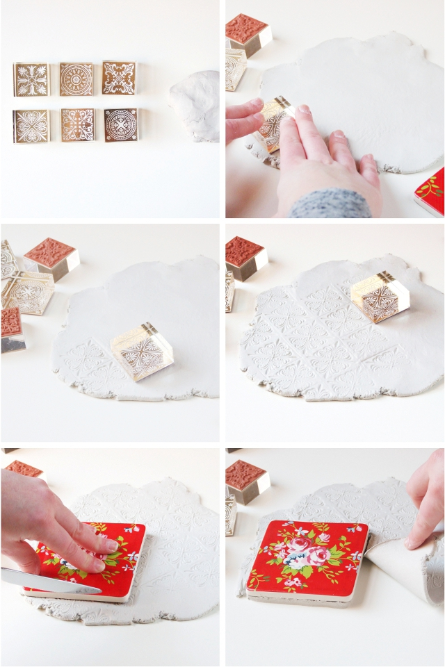 how to make your own Diy Stamped Clay Coasters