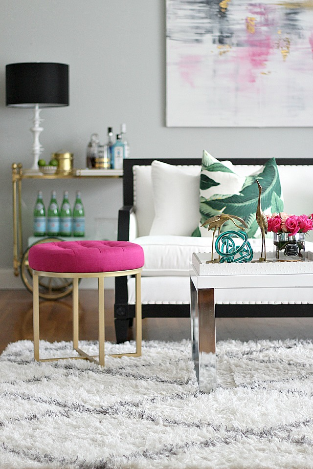 Pretty Little Details Inspiration Files // Girly pink & green living room via Bliss at Home.