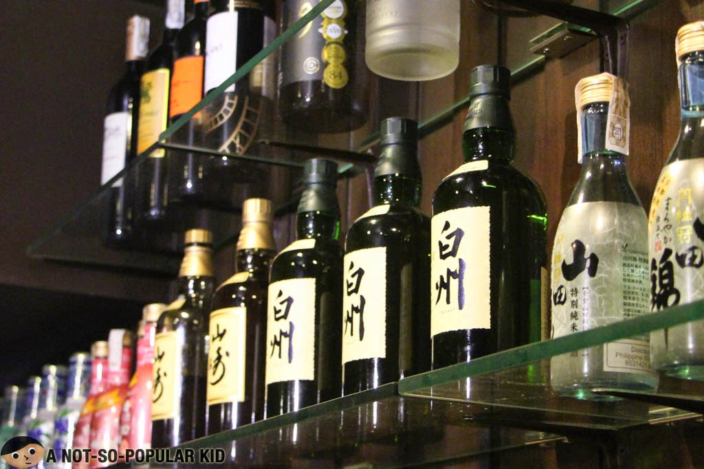 Japanese Wine and Alcohol Collection in Yumi Restaurant