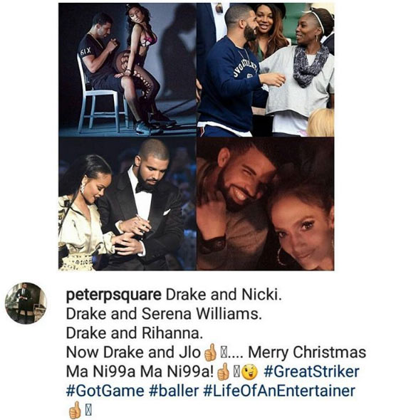 Baller of life! - Peter Okoye hails Drake for dating Serena Williams, Rihanna, Jennifer Lopez