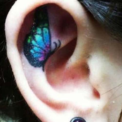 kulak içi kelebek dövmesi butterfly tattoo in ear