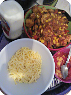 Actifry Fajitas, Pineapple Salsa Discovery Foods Garlic and Herb Soured Cream and Grated Cheese