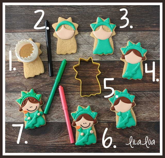 How to decorate a Statue of Liberty sugar cookie -- tutorial