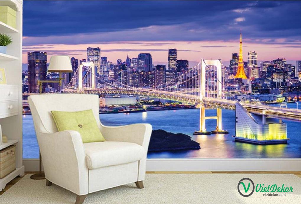 Tranh 3d dán tường phong cảnh quảng trường phòng khách đẹp