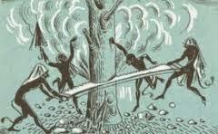 Kallikantzaroi, cutting down The World Tree