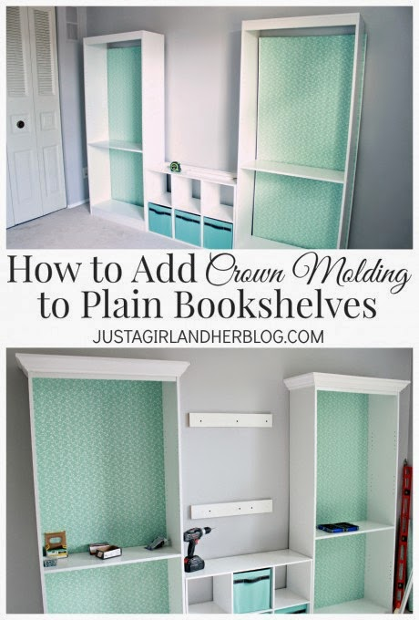 http://justagirlandherblog.com/bookshelves-with-crown-molding/