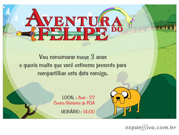 Convite Aniversário Infantil Hora de Aventura