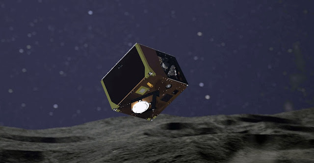 Artist's impression of MASCOT during landing on asteroid Ryugu. Image Credit: DLR