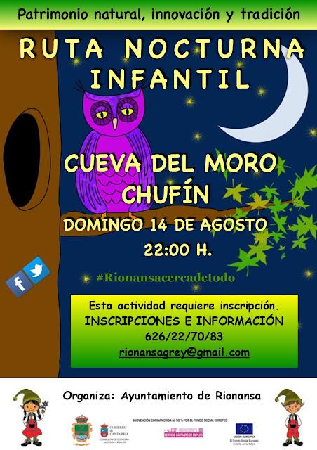 Ruta nocturna infantil; Cueva del Moro y Chufín