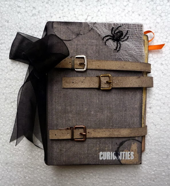 Gray Mixed Media Buckled Halloween Mini Album Cover with Black Stamping and Spiders