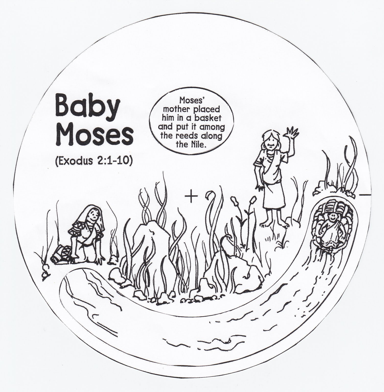 Bible Coloring Pages Baby Moses baby moses coloring part 2 baby