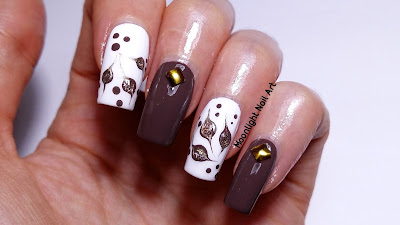 NAIL ART FOR FALL IN BROWN & GOLD