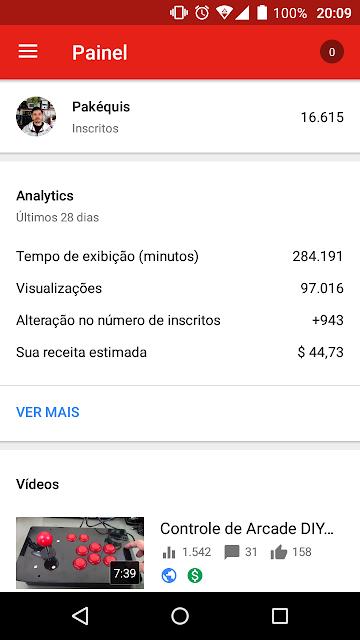 Estatísticas do canal