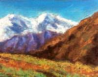 Soft pastel landscape demo done during art workshop by Manju Panchal