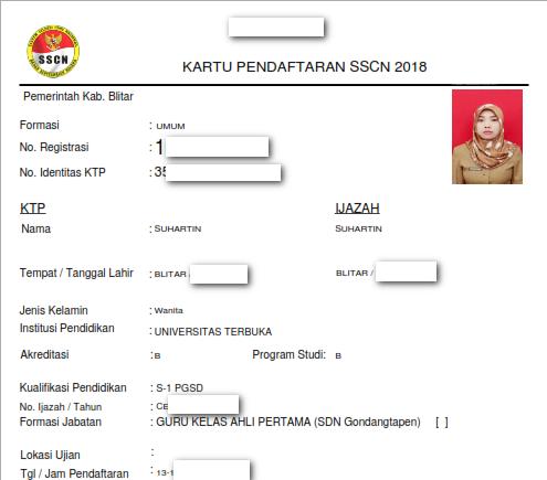 Cetak ulang kartu pendaftaran sscn 2018