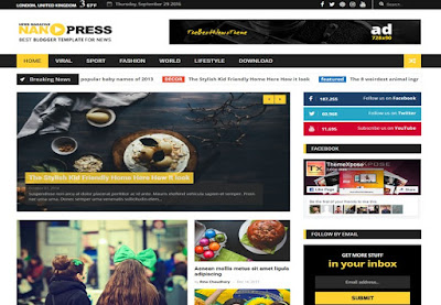 Nano Press Responsive Magazine Blogger Template