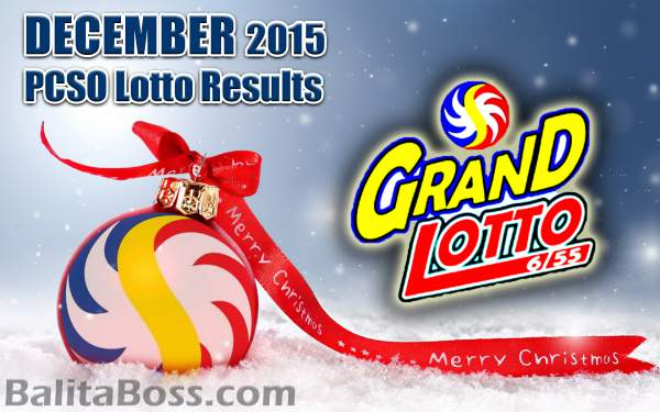 Image: December 2015 GrandLotto 6/55 PCSO Lotto Results