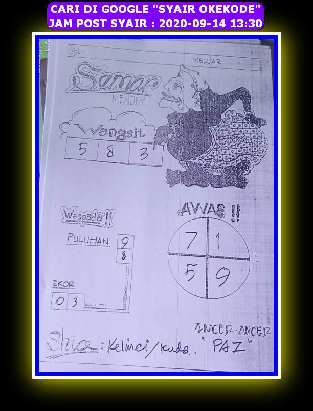 Kode syair Hongkong Senin 14 September 2020 91
