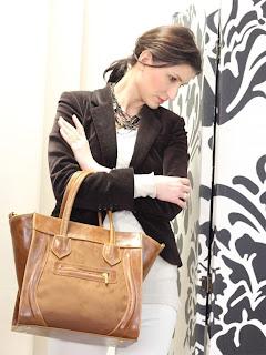 brązowa torebka z zameczkiem torebka w stylu celine boston