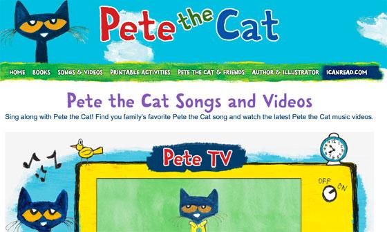 Página oficial de recursos, libros, canciones y vídeos de Pete the cat