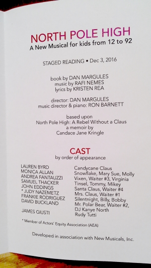 Inside of program for world premiere staged reading of North Pole High: The Musical at New Musicals Inc, December 3, 2016