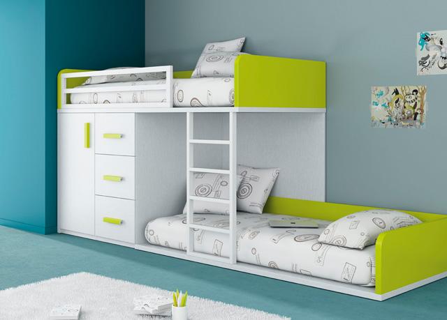 cama alta blancagris y roja con escalera cajon abajomodulo de armario con puertas y mesa de estudio