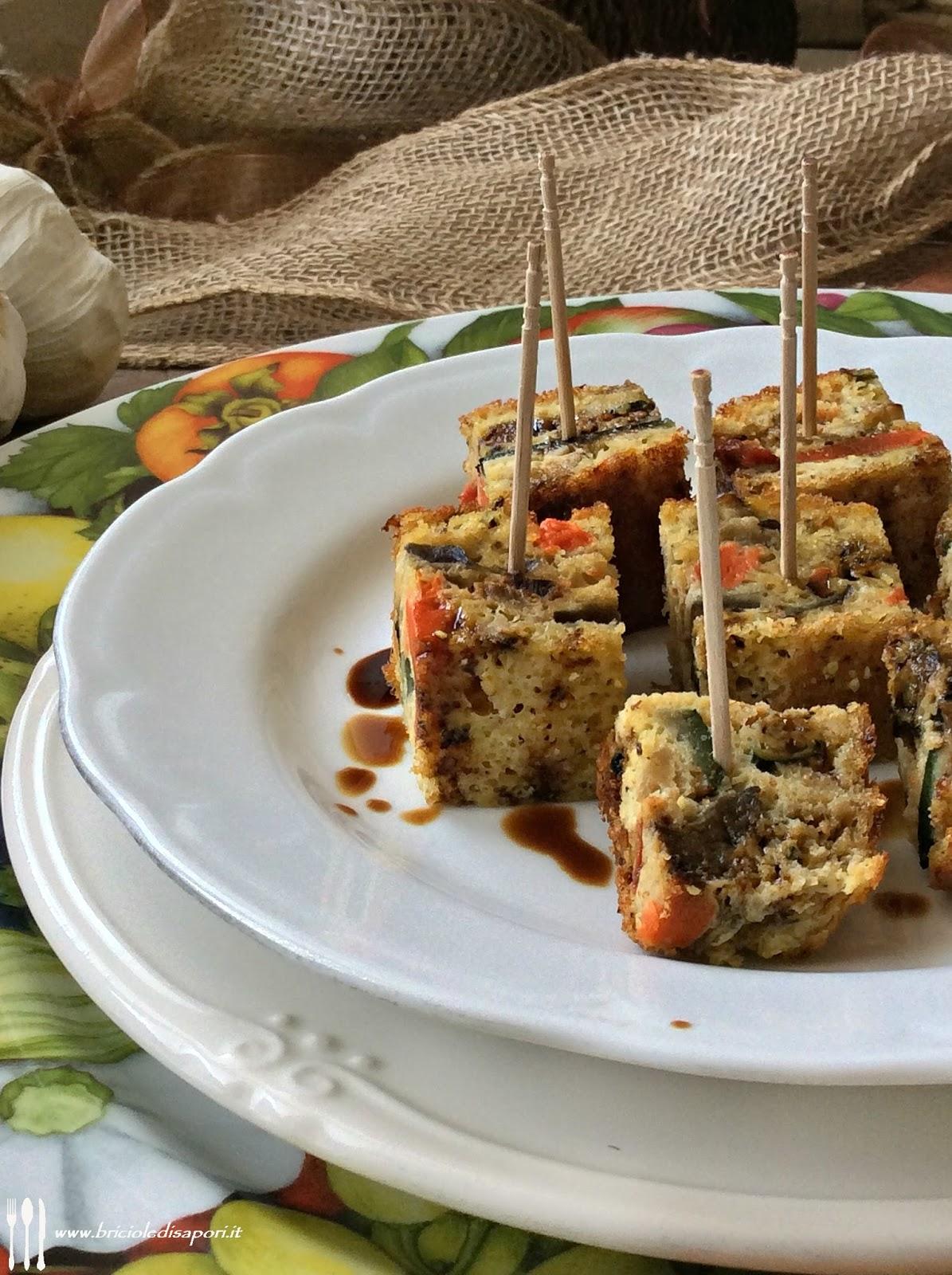 cubetti di frittata con verdure e aceto balsamico