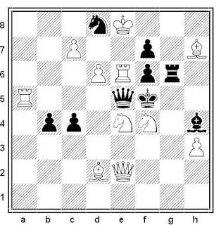 Problema de mate en 2 compuesto por Gérard Doukhan (2º Premio, De Waarhied 1981)