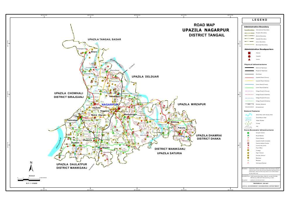 Nagarpur Upazila Road Map Tangail District Bangladesh