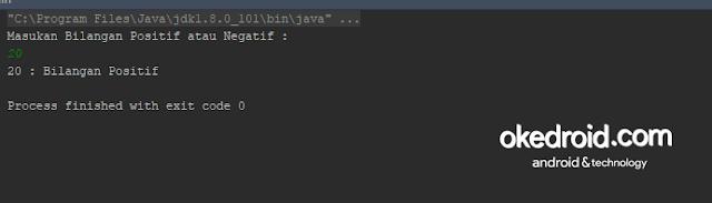 Output Hasil Contoh Code Program Cek Bilangan Positif dan Negatif Java