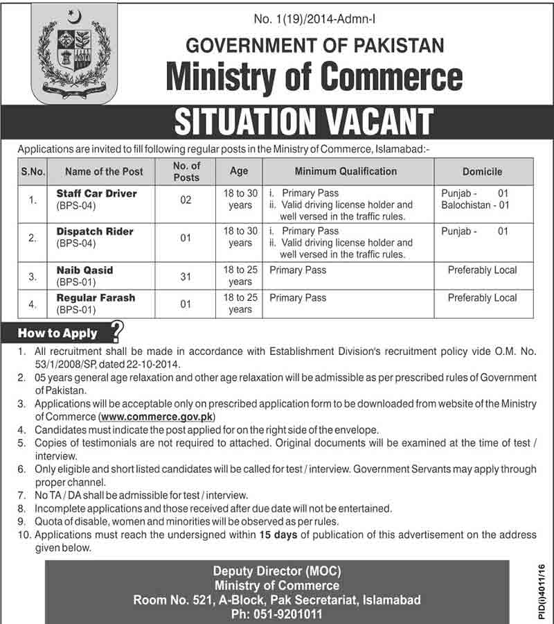 Ministry of Commerce Islamabad 6th February 2017 JObs