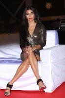 Pooja Hegde looks glamarous in deep neck sleevless short tight golden gown at Duvvada Jagannadham thank you meet function 081.JPG