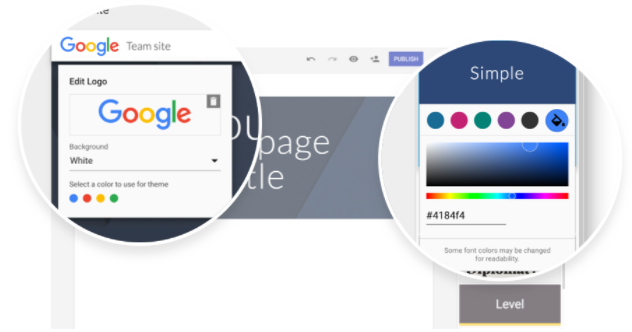 Customize your site with logos, matching colors, and more in the new Google Sites