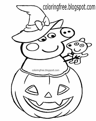 Witch hat easy Halloween coloring pages Peppa Pig trick or treat cute pumpkin drawing for playschool
