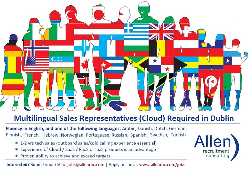 Multilingual Sales Representatives (Cloud Computing) required in