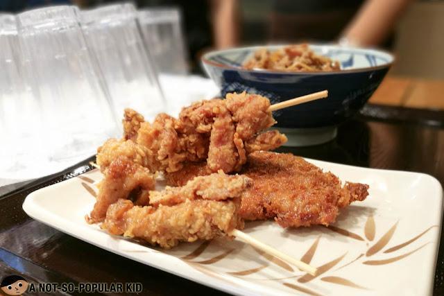 Tonkatsu and chicken karage of Marugame