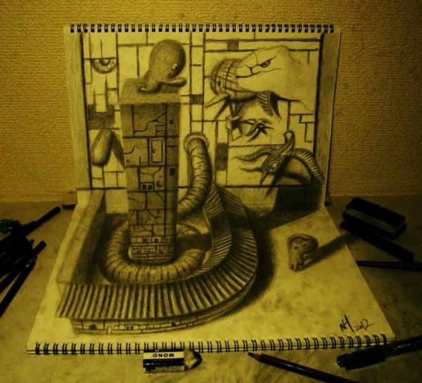 Gambar Sketsa 3 Dimensi Yang Kreatif Keren dan Juga Menakjubkan-4