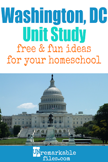 This Washington D.C. unit study is packed with activities, crafts, book lists, and recipes for kids of all ages! Make learning about the US capitol in your homeschool even more fun with these free ideas and resources. #washington #dc #homeschool