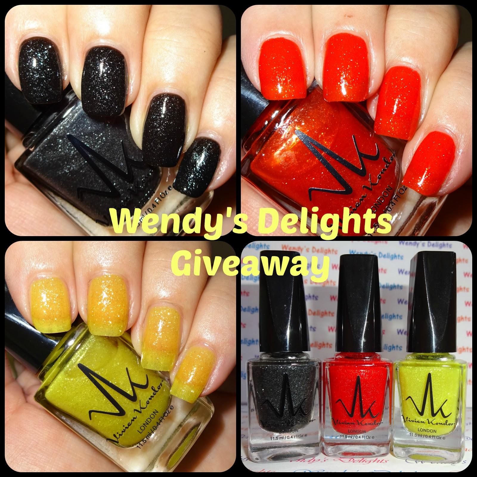 Wendy\'s Delights: **GIVEAWAY** Set of 3 Vivien Kondor Nail Polishes ...
