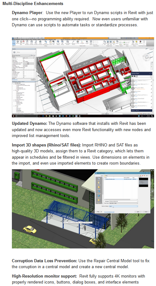 Direct Download Links for Revit 2017 Update 1, Revit 2016 Update 7, and The DynamoBIM Player is Here