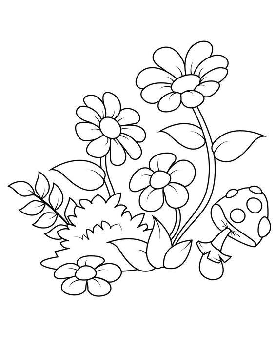 Tranh tô màu bông hoa và cây nấm
