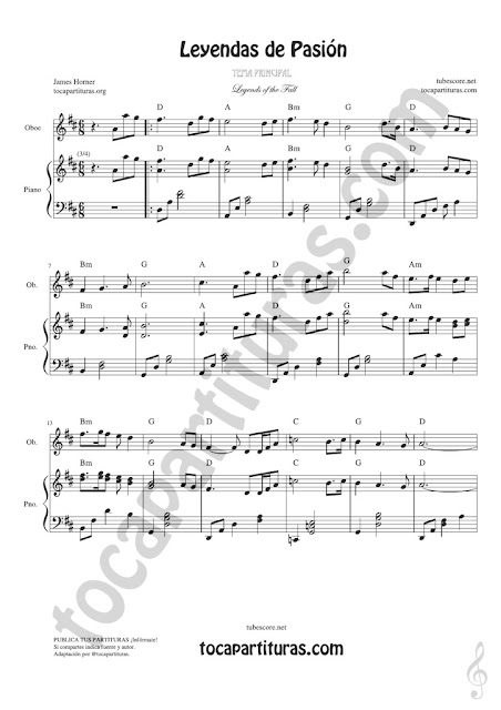 1 Leyendas de Pasión Partitura de Oboe Legends of the Fall Sheet Music for Oboist