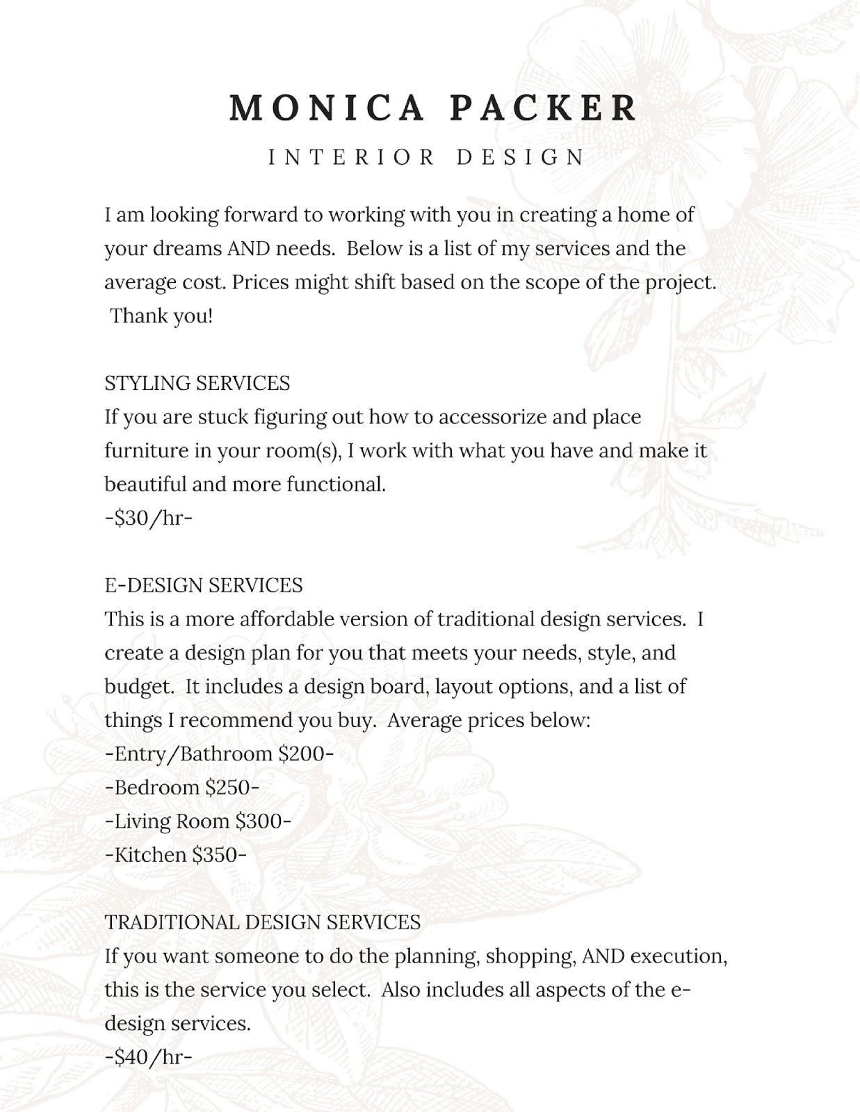 Cost of interior design services for Interior design services pricing