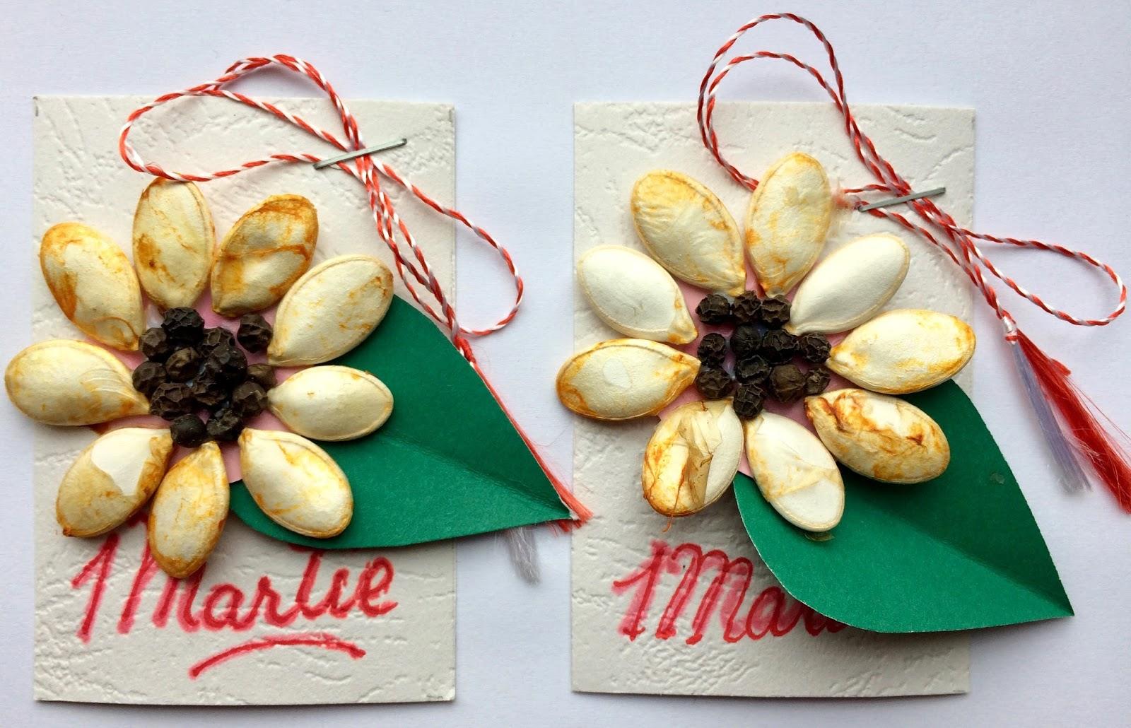 Mărțișoare din semințe de dovleac și boabe de piper