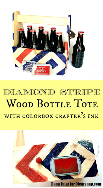 Diamond Stripe Wood Bottle Tote Tutorial by Dana Tatar for Clearsnap